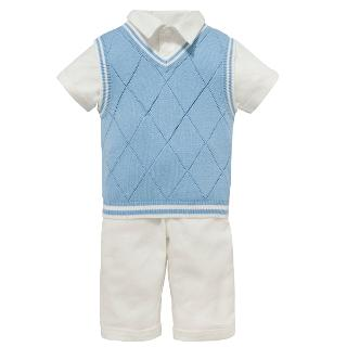 Buy John Lewis Baby's Linen Outfit, Cream/Blue Online at johnlewis.com