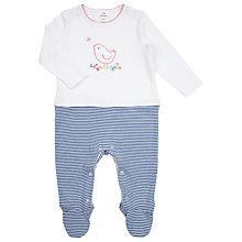 Buy John Lewis Baby Layette Stripe Bird Sleepsuit, White/Blue Online at johnlewis.com