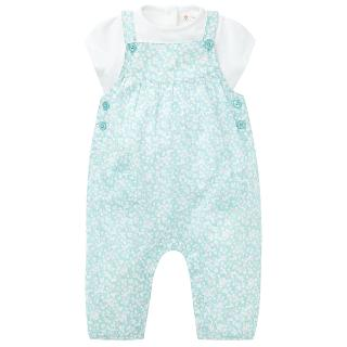 Buy John Lewis Ditsy Dungarees & T-Shirt Outfit, Green/White Online at johnlewis.com