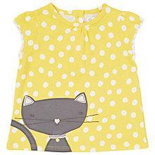 Buy John Lewis Cat Spot Short Sleeved T-Shirt, Yellow Online at johnlewis.com