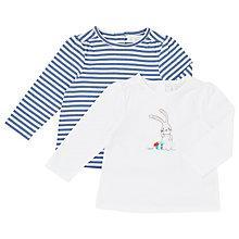 Buy John Lewis Baby Bunny/Stripe Top, Pack of 2, Multi Online at johnlewis.com