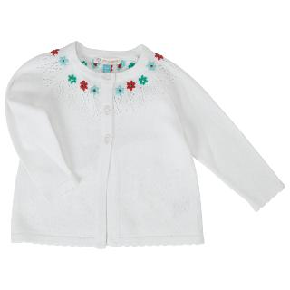Buy John Lewis Floral Pointelle Cardigan, Cream Online at johnlewis.com