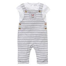Buy John Lewis Stripe Dungaree and T-Shirt Set, Grey/White Online at johnlewis.com