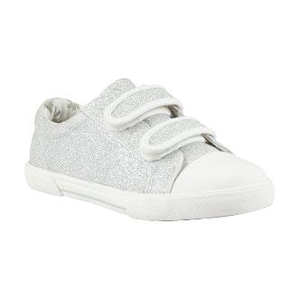 Buy John Lewis Sparkle Double-Tab Trainers, Silver Glitter Online at johnlewis.com