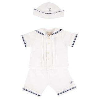 Buy Emile et Rose Baby Evan Sailor Set Outfit & Hat, White/Navy Online at johnlewis.com