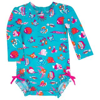 Buy Hatley Baby Long Sleeve Sea Life Swimsuit, Teal Online at johnlewis.com