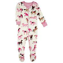 Buy Hatley Horses and Hearts Sleepsuit, Pink Online at johnlewis.com