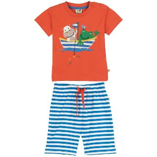 Buy Frugi Baby Animal Boat T-Shirt and Shorts Set, Red/Blue Online at johnlewis.com