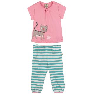 Buy Frugi Baby's Cat Top & Trousers, Pink/Green Online at johnlewis.com