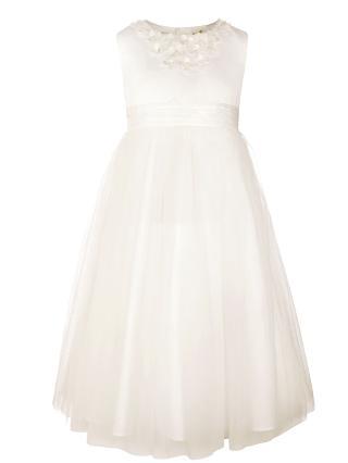 Buy John Lewis Girl Floral Neckline Bridesmaid Dress, Ivory Online at johnlewis.com