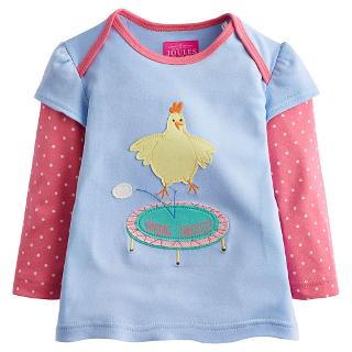 Buy Little Joule Girls' Alyssa Chicken Applique T-Shirt, Blue/Pink Online at johnlewis.com