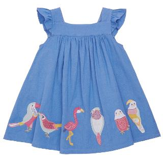 Buy John Lewis Baby's Bird Applique Linen Mix Dress, Blue Online at johnlewis.com