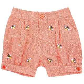 Buy John Lewis Bee Embroidered Shorts, Orange Online at johnlewis.com