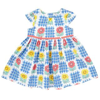 Buy John Lewis Baby's Check Flower Print Dress, Blue/White Online at johnlewis.com