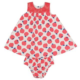 Buy John Lewis Baby's Apple Print Dress, Pink/White Online at johnlewis.com
