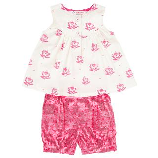 Buy John Lewis Baby Flower Top and Shorts Set, Pink Online at johnlewis.com