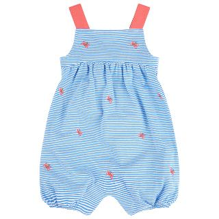 Buy John Lewis Butterfly Stripe Playsuit, Blue/Cream Online at johnlewis.com
