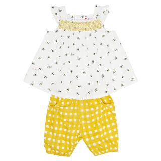 Buy John Lewis Baby's Bee Print Top & Shorts, Yellow/White Online at johnlewis.com