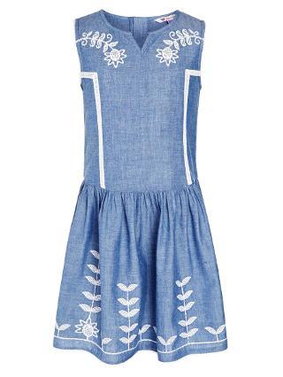Buy John Lewis Girls' Denim Chambray Drop Waist Dress, Blue Online at johnlewis.com