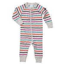 Buy Polarn O. Pyret Baby Merino Wool Stripe Romper, Grey/Multi Online at johnlewis.com