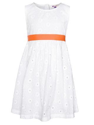 Buy John Lewis Girl Sleeveless Embroidery Dress, White Online at johnlewis.com