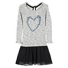 Buy Mango Kids Girls' Sequin Heart 2 in 1 Dress, Grey/Black Online at johnlewis.com