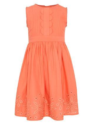Buy John Lewis Girl Sleeveless Embroidery Pintuck Dress, Orange Online at johnlewis.com