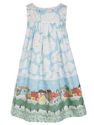 Buy John Lewis Girl Clouds & Houses Dress, Multi Online at johnlewis.com