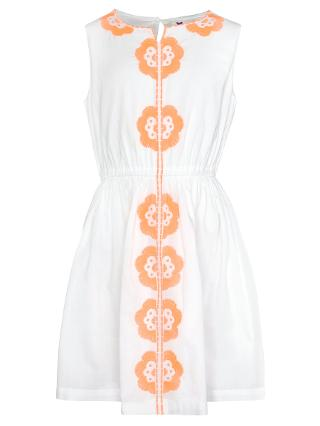 Buy John Lewis Girl Sleeveless Embroidery Sun Dress, White/Coral Online at johnlewis.com