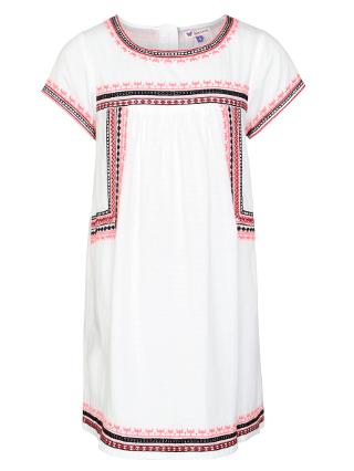Buy John Lewis Girl Short Sleeve Aztec Embroidery Dress, White Online at johnlewis.com