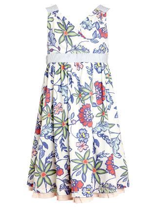 Buy John Lewis Girl Floral Print Cross Over Dress, White/Multi Online at johnlewis.com