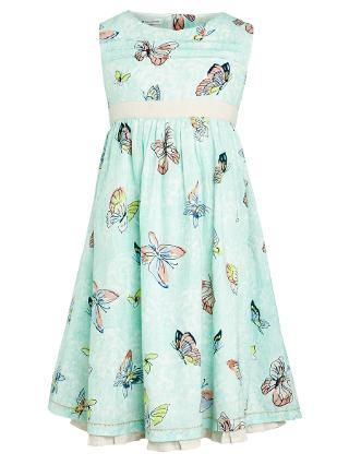 Buy John Lewis Girl Butterfly Print Dress, Aqua Online at johnlewis.com