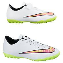 Buy Nike Children's Mercurial Victory V Astro Turf Football Trainers, White/Neon Online at johnlewis.com