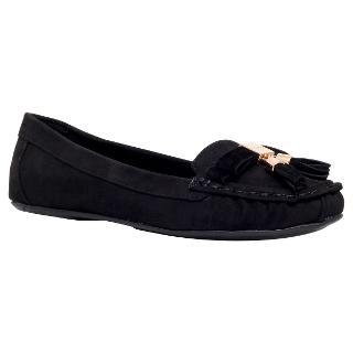 Buy Carvela Leaf Tassel Suede Loafers, Black Online at johnlewis.com