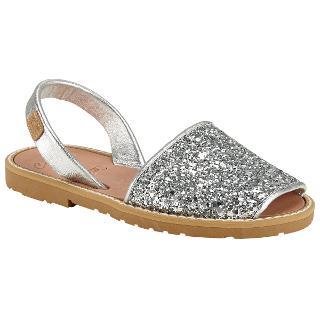 Buy Castell Madonna Glitter Leather Sandals, Metallic Silver Online at johnlewis.com