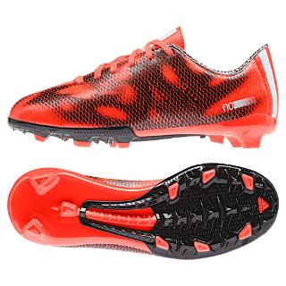 Buy Adidas F10 Solar Firm Ground Football Boots, Red/Black Online at johnlewis.com