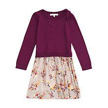 Buy Jigsaw Junior Girls' Woven Knit Floral Dress, Purple Online at johnlewis.com