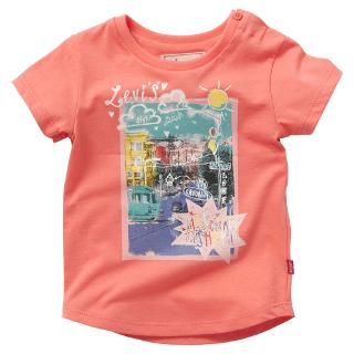 Buy Levi's Baby Short Sleeve Sketch Scene T-Shirt, Pink Online at johnlewis.com