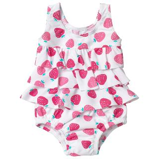 Buy John Lewis Strawberry Print Sunproof Swimsuit, White/Pink Online at johnlewis.com