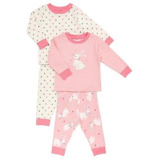Buy John Lewis Baby's Bunny Print Pyjamas, Pack of 2, Pink Online at johnlewis.com