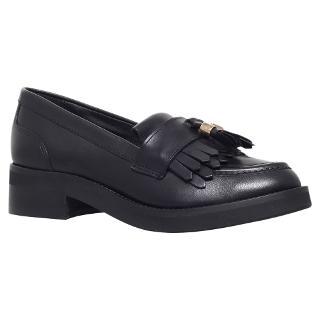 Buy Carvela Letter Leather Loafers, Black Online at johnlewis.com