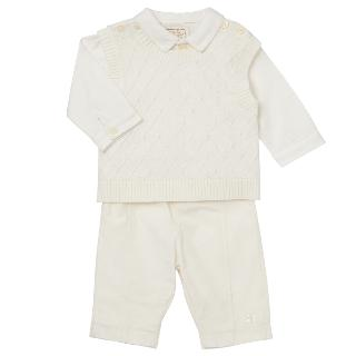 Buy Emile et Rose Baby Flynn Tank Top Shirt and Trousers Set, Cream Online at johnlewis.com