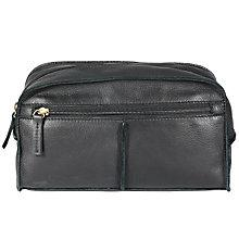 Buy John Lewis Raw Edge Leather Wash Bag, Black Online at johnlewis.com