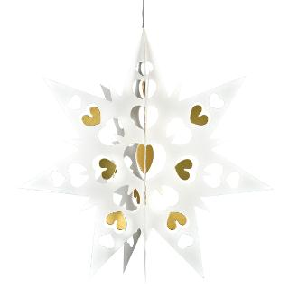 Buy Livingly Hanging Paper Double Star Decoration, White, Medium Online at johnlewis.com