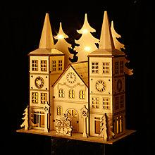 Buy John Lewis Battery Operated LED Wooden Double Spire Church, Natural Online at johnlewis.com