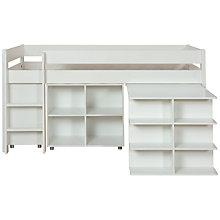 Buy Stompa Uno Plus Mid-sleeper Bedstead with Desk, Shelf Unit and Drawers, White Online at johnlewis.com