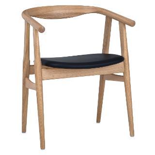 "Buy Hans Wegner The ""U"" Chair, Oak/Black Leather Online at johnlewis.com"