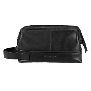 Buy Smith & Canova Leather Wash Bag, Large, Black Online at johnlewis.com