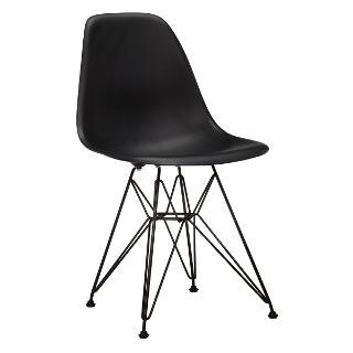 Buy Vitra Eames DSR Side Chair, Black with Black Base Online at johnlewis.com
