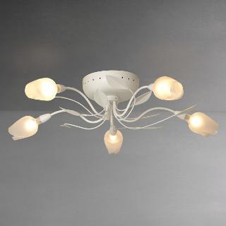 Buy John Lewis Oria Semi-flush Ceiling Light, 5 Arm, White Online at johnlewis.com